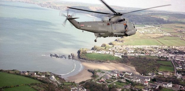 Helicopter over MOD Aberporth range operated by QinetiQ UK