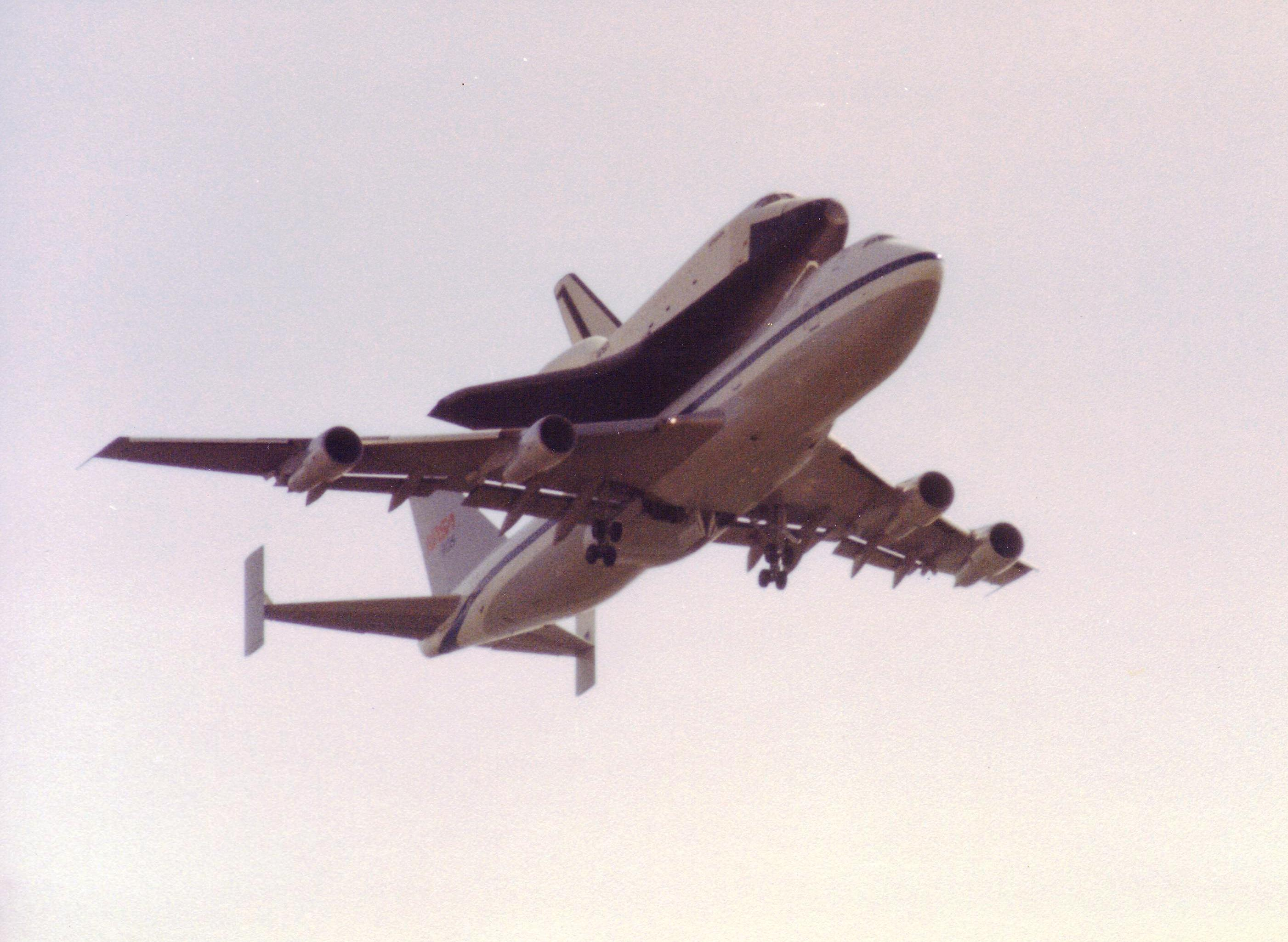 B747 & Shuttle Enterprise Combo overflight 05-Jun-1983