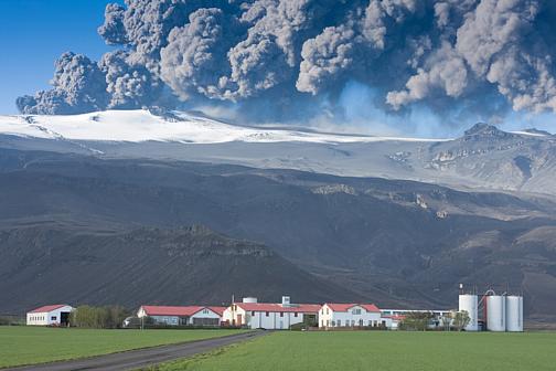 Eyjafjallajokull in Iceland erupting.