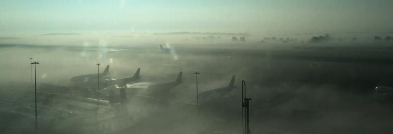 Fog at London Luton Airport