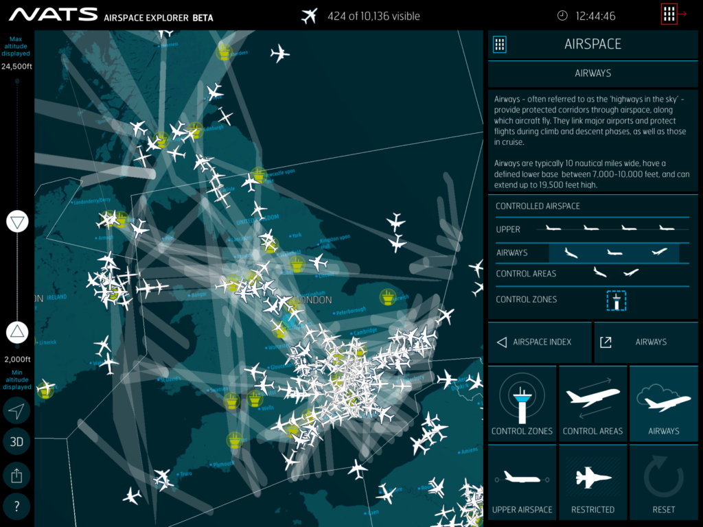 Airspace Explorer showing the UK Airways structure